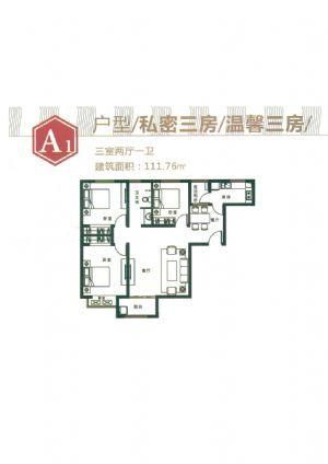 A1-三室二厅一卫一厨-户型图