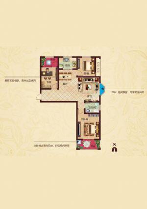 F1户型-三室二厅一卫一厨-户型图