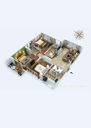 E户型-三室二厅一卫一厨-户型图