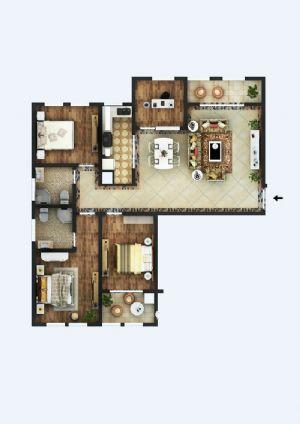 G户型-四室厅卫厨-户型图