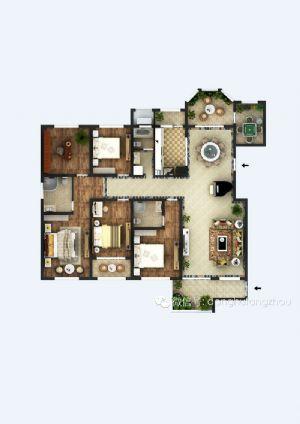 K户型-五室二厅三卫一厨-户型图