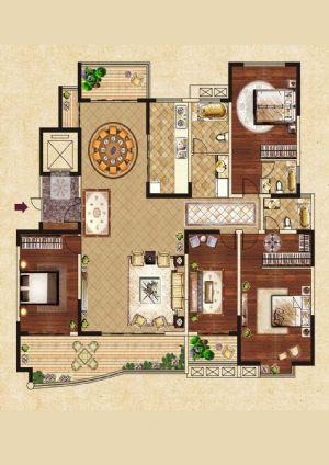 D户型-四室二厅三卫一厨-户型图