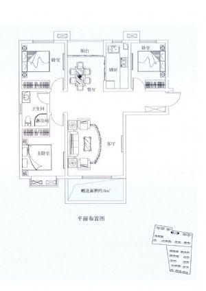 H4户型-三室二厅一卫一厨-户型图