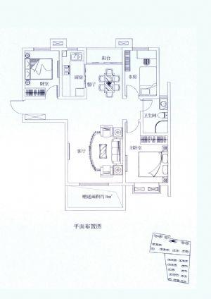 H6户型-三室二厅一卫一厨-户型图