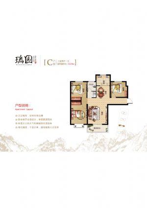 C房型-三室二厅一卫一厨-户型图