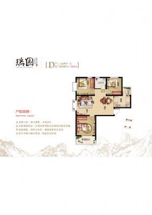 D房型-三室二厅一卫一厨-户型图