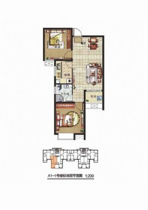 A3户型-二室二厅一卫一厨-户型图