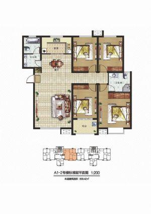 B2户型-四室二厅二卫一厨-户型图