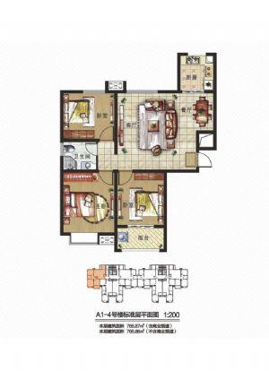 D1户型-三室二厅一卫一厨-户型图