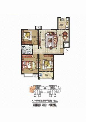 D2户型-三室二厅一卫一厨-户型图