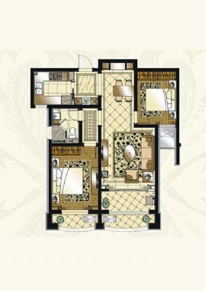 B户型-二室二厅一卫一厨-户型图