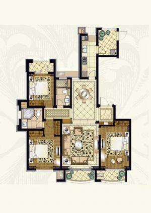 D·户型-三室二厅二卫一厨-户型图
