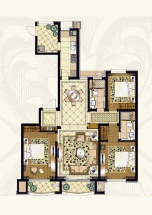 E户型-三室二厅二卫一厨-户型图