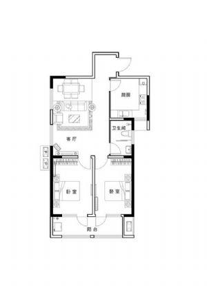 C户型-二室二厅一卫一厨-户型图