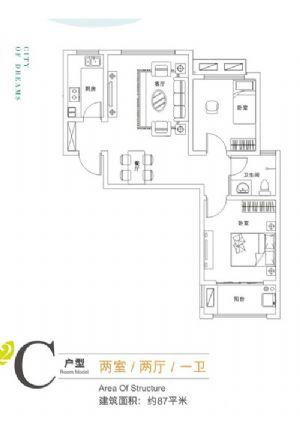 C2户型-二室二厅一卫一厨-户型图