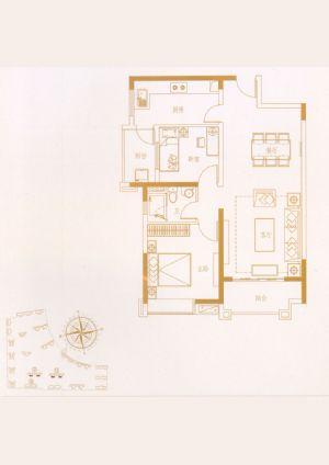 01户型-二室二厅一卫一厨-户型图