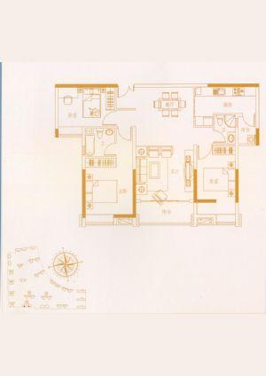 03户型-三室二厅二卫一厨-户型图