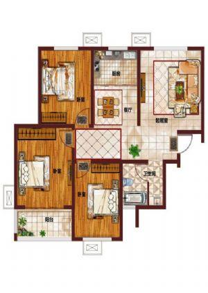 A-三室二厅一卫一厨-户型图