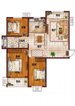 D-三室二厅一卫一厨-户型图