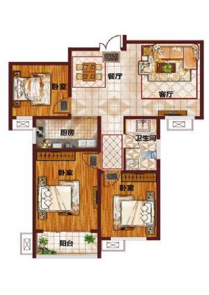 E-三室二厅一卫一厨-户型图