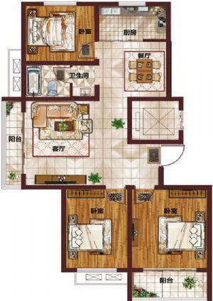 H-三室二厅一卫一厨-户型图