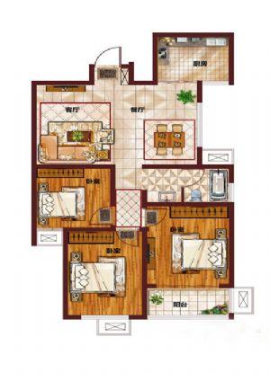 I-三室二厅一卫一厨-户型图