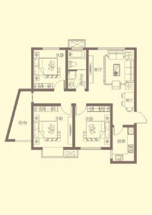 C户型-三室一厅一卫一厨-户型图