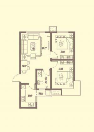 G户型-二室一厅一卫一厨-户型图