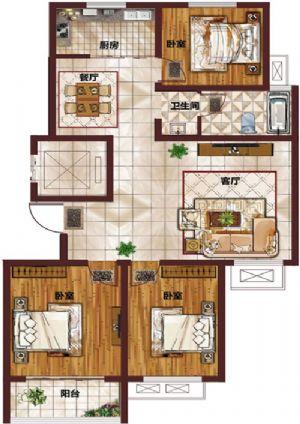 J-三室二厅一卫一厨-户型图