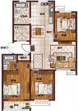K-三室二厅二卫一厨-户型图
