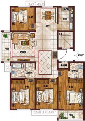 P -四室二厅二卫一厨-户型图