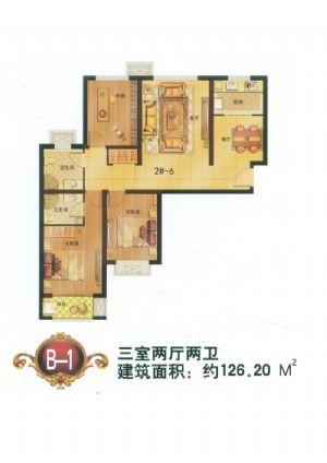 B-1户型-三室二厅二卫一厨-户型图