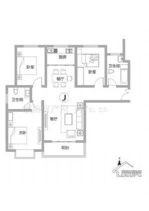 J户型-三室二厅二卫一厨-户型图