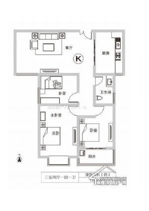 K户型-三室二厅一卫一厨-户型图