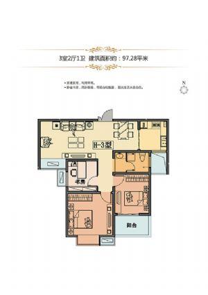 H-3户型-三室二厅一卫一厨-户型图