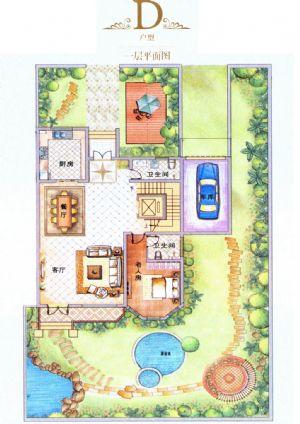 D户型-室厅卫厨-户型图