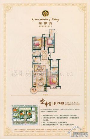 F户型-三室三厅二卫一厨-户型图