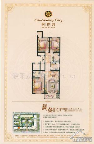 C户型-三室三厅二卫一厨-户型图