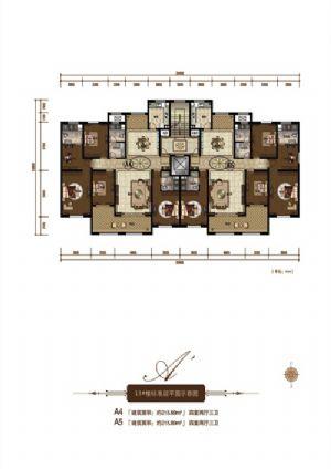A5户型-四室二厅三卫一厨-户型图