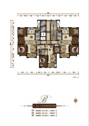 B6户型-三室二厅一卫一厨-户型图