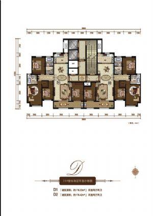 D2户型-四室二厅二卫一厨-户型图