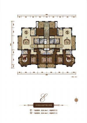E1户型-四室二厅三卫一厨-户型图