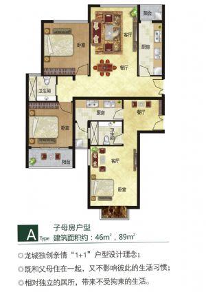 A户型-三室四厅二卫二厨-户型图