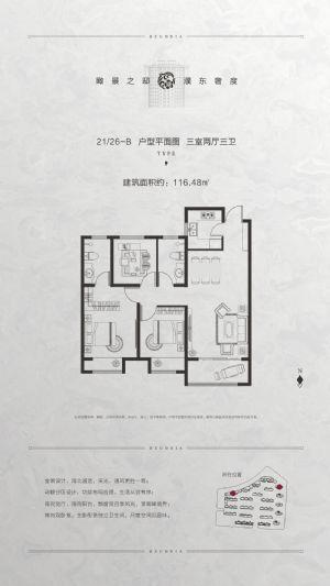 21/26-B户型-三室二厅二卫一厨-户型图