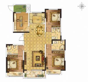 B户型-四室二厅三卫厨-户型图