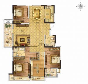 F户型-四室二厅二卫厨-户型图