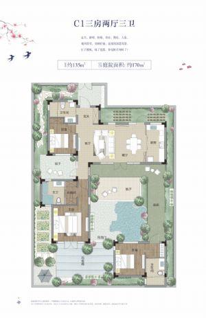 C1-三室二厅三卫一厨-户型图