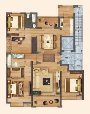 四室A-四室二厅二卫一厨-户型图