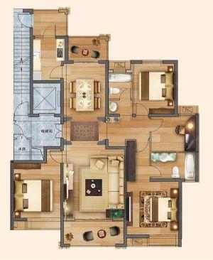 四室B-四室二厅二卫一厨-户型图