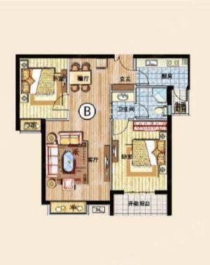 两室B-二室二厅一卫一厨-户型图